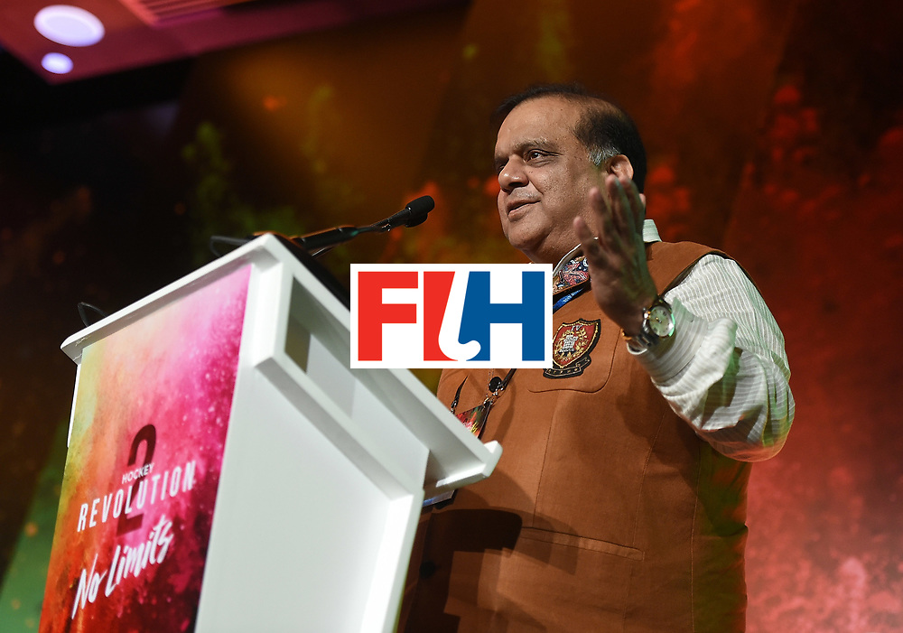 DUBAI, UNITED ARAB EMIRATES - NOVEMBER 12:  Newly appointed President of The International Hockey Federation, Dr Narinder Batra speaks during the 45th FIH Congress on November 12, 2016 in Dubai, United Arab Emirates.  (Photo by Tom Dulat/Getty Images)