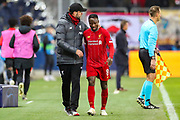 Liverpool Head Coach Jürgen Klopp congratulates Liverpool midfielder Naby Keïta (8) as he is substituted during the Champions League match between FC Red Bull Salzburg and Liverpool at the Red Bull Arena, Salzburg, Austria on 10 December 2019.