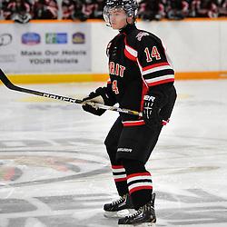 TRENTON, ON - Jan 5 : Ontario Junior Hockey League game between Stouffville Spirit and Trenton Golden Hawks. Matthew Dunlop #14 of the Stouffville Spirit during first period game action..(Photo by Shawn Muir / OJHL Images)