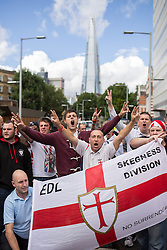 © Licensed to London News Pictures . 07/09/2013 . London , UK . The EDL hold a march and demonstration in London today (Saturday 7th September 2013) . Photo credit : Joel Goodman/LNP