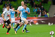MELBOURNE, VIC - NOVEMBER 09: Wellington Phoenix defender Louis Fenton (16) competes with Melbourne City defender Conor Metcalfe (34) at the Hyundai A-League Round 4 soccer match between Melbourne City FC and Wellington Phoenix on November 09, 2018 at AAMI Park in Melbourne, Australia. (Photo by Speed Media/Icon Sportswire)