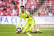 Chelsea goalkeeper Thibaut Courtois (13) during the The FA Cup Final match between Arsenal and Chelsea at Wembley Stadium, London, England on 27 May 2017. Photo by Sebastian Frej.
