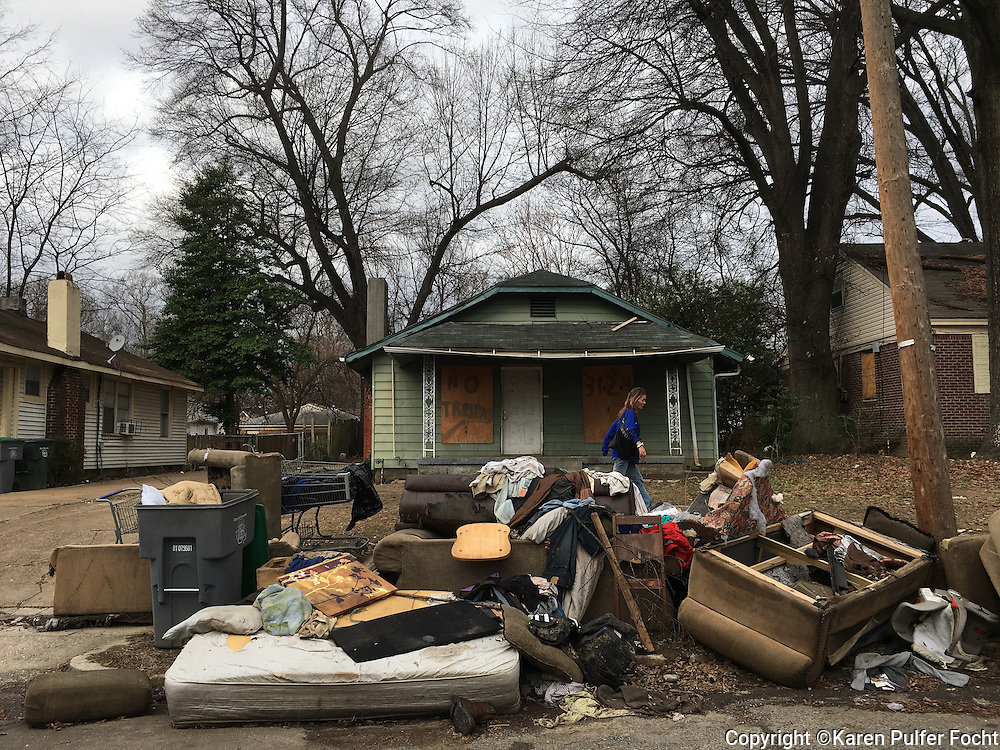 Belongings from a family that was evicted from a poverty stricken Memphis neighborhood.