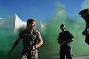 Militaire politie oefent op calamiteiten ter voorbereiding op het WK 2010 in Zuid Afrika.