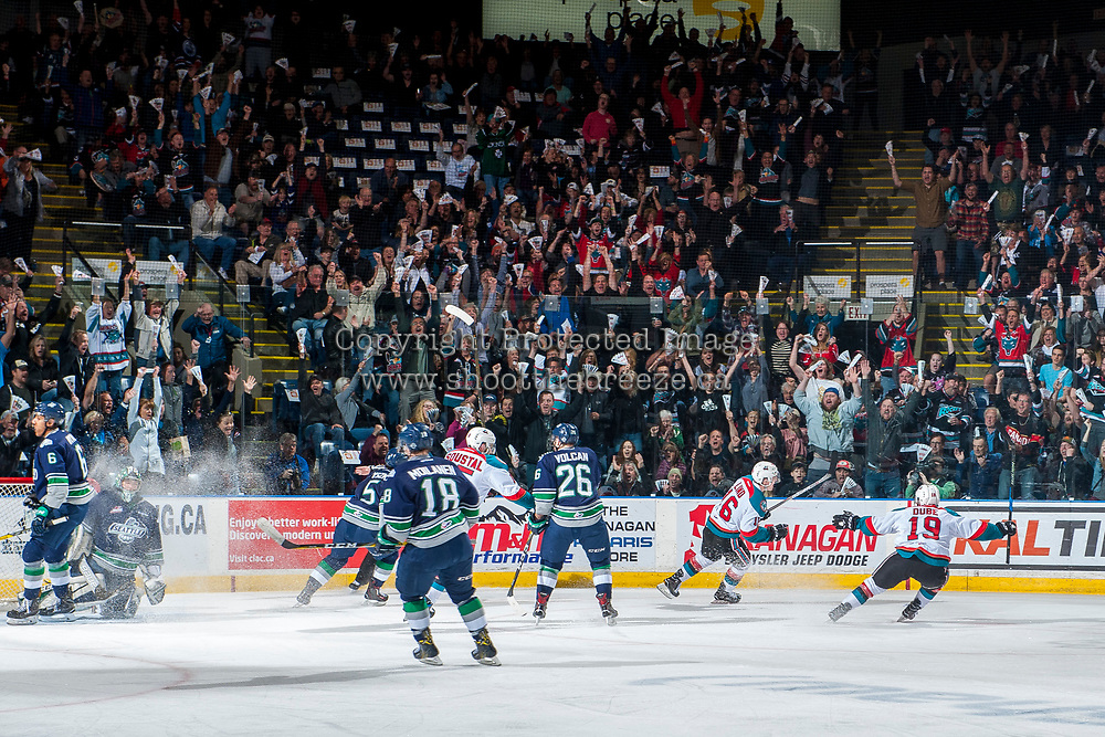 KELOWNA, CANADA - APRIL 26: Fans celebrate the goal by Kole Lind #16, assisted by Dillon Dube #19 of the Kelowna Rockets against the Seattle Thunderbirds on April 26, 2017 at Prospera Place in Kelowna, British Columbia, Canada.  (Photo by Marissa Baecker/Shoot the Breeze)  *** Local Caption ***