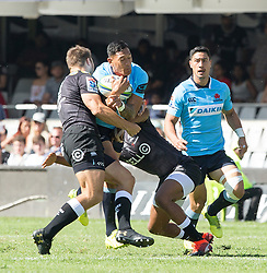 Durban. 030318. Durban. 030318. Isreal Folau of the Waratahs  during the Super Rugby match between Cell C Sharks and Waratahs at Kings Park on March 03, 2018 in Durban, South Africa. Picture Leon Lestrade/African News Agency/ANA