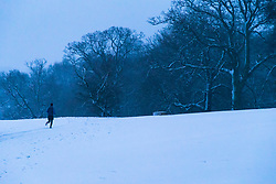 A runner makes his way through the snow on Hampstead Heath. Hampstead, London, February 01 2019.