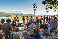 Band performing by estuary<br /> Festival No 6<br /> Festival Number 6<br /> Portmeirion<br /> Gwynedd<br /> North<br /> Arts<br /> Music<br /> Culture<br /> Events