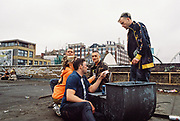 Ravers on rooftop, Chariot Spa, Fairchild St, Shoreditch, London May 2016