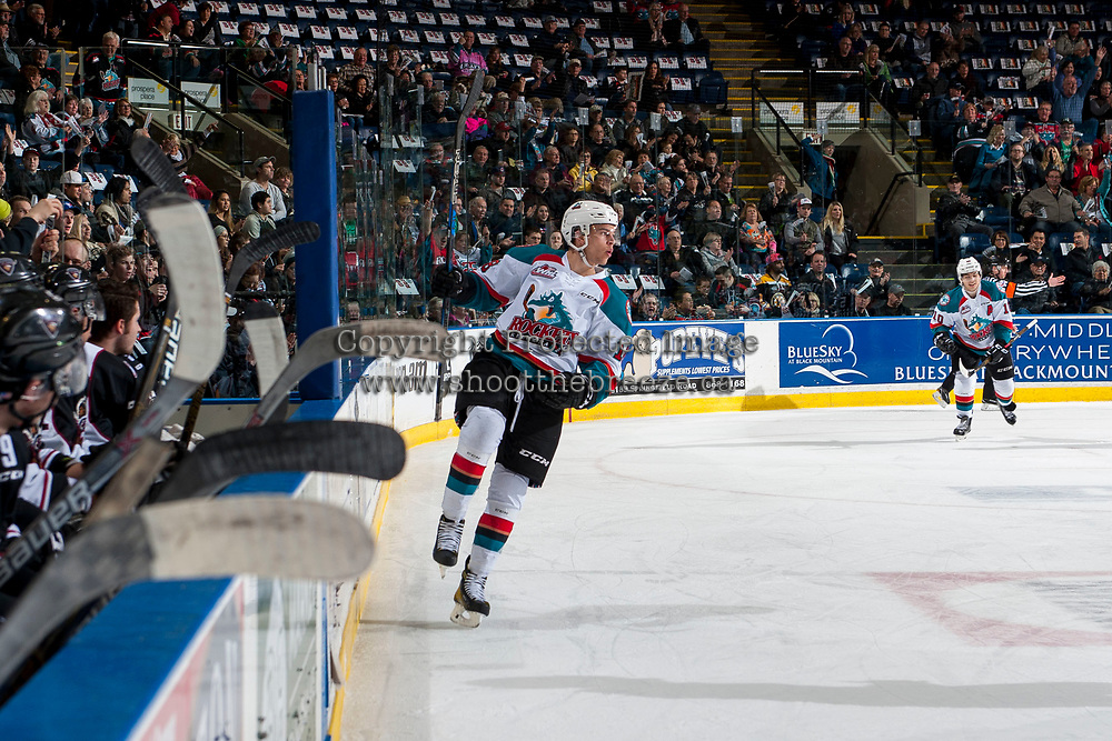 KELOWNA, CANADA - MARCH 10: Carsen Twarynski #18 of the Kelowna Rockets celebrates a first period goal against the Vancouver Giants on March 10, 2017 at Prospera Place in Kelowna, British Columbia, Canada.  (Photo by Marissa Baecker/Shoot the Breeze)  *** Local Caption ***