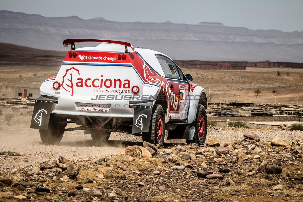 Acciona 100x100 ecopowered,electric car, Dakar 2016, Marroco 2015, Zagora, car test.