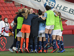 February 23, 2019 - Sheffield, England, United Kingdom - Manchester City celebrate winning during the  FA Women's Continental League Cup Final  between Arsenal and Manchester City Women at the Bramall Lane Football Ground, Sheffield United FC Sheffield, Saturday 23rd February. (Credit Image: © Action Foto Sport/NurPhoto via ZUMA Press)