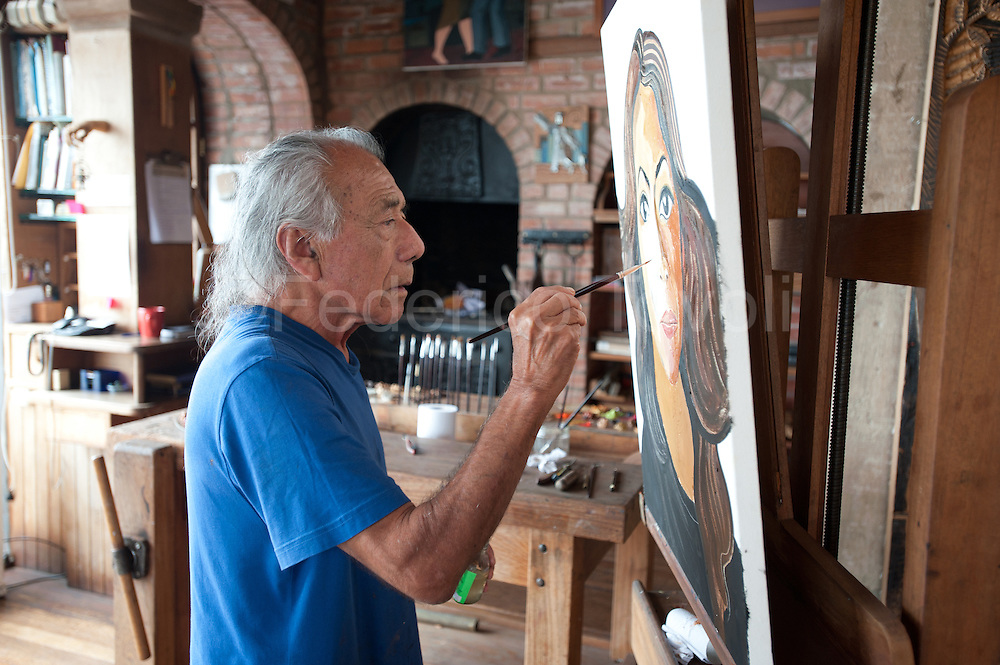 Barranco, resident arrtists. The famous painter Victor Delfin at work in his studio