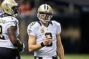 NEW ORLEANS, LA - SEPTEMBER 20:  Drew Brees #9 of the New Orleans Saints looks to the sidelines during a game against the Tampa Bay Buccaneers at Mercedes-Benz Superdome on September 20, 2015 in New Orleans Louisiana.  The Buccaneers defeated the Saints 26-19.  (Photo by Wesley Hitt/Getty Images) *** Local Caption *** Drew Brees