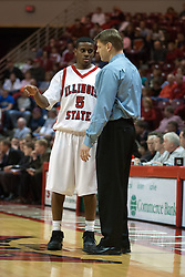14 October 2006:  Coach Porter Moser and Khalif Ford have a quick chat on the sideline.....In a game that involved both coaches as much as the players, the Northern Iowa Panthers plucked the Illinois State University Redbirds in a Missouri Valley Conference game by a score of 67 - 52. Competition took place at Redbird Arena in Normal Illinois