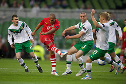 DUBLIN, REPUBLIC OF IRELAND - Friday, May 27, 2011: Wales' Robert Earnshaw scores the second goal against Northern Ireland during the Carling Nations Cup match at the Aviva Stadium (Lansdowne Road). (Photo by David Rawcliffe/Propaganda)