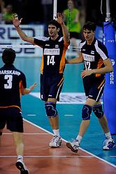 08-07-2010 VOLLEYBAL: WLV NEDERLAND - ZUID KOREA: EINDHOVEN<br /> Nederland verslaat Zuid Korea met 3-0 / Niels Klapwijk en Wytze Kooistra<br /> ©2010-WWW.FOTOHOOGENDOORN.NL