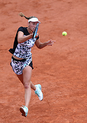 PARIS, June 4, 2018  Elise Mertens of Belgium returns the ball during the women's singles 4th round match against Simona Halep of Romania at the French Open Tennis Tournament 2018 in Paris, France on June 4, 2018. Elise Mertens lost 0-2.  wll) (Credit Image: © Luo Huanhuan/Xinhua via ZUMA Wire)