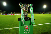 The Carabao Cup, on display at the pirelli Stadium during the EFL Cup match between Burton Albion and Nottingham Forest at the Pirelli Stadium, Burton upon Trent, England on 30 October 2018.