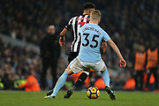 Oleksandr Zinchenko during the Premier League match between Manchester City and Newcastle United at the Etihad Stadium, Manchester, England on 20 January 2018. Photo by George Franks.