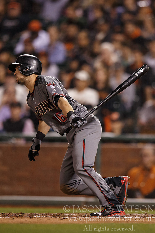SAN FRANCISCO, CA - APRIL 18: Chris Owings #16 of the Arizona Diamondbacks at bat against the San Francisco Giants during the fifth inning at AT&T Park on April 18, 2016 in San Francisco, California. The Arizona Diamondbacks defeated the San Francisco Giants 9-7 in 11 innings.  (Photo by Jason O. Watson/Getty Images) *** Local Caption *** Chris Owings