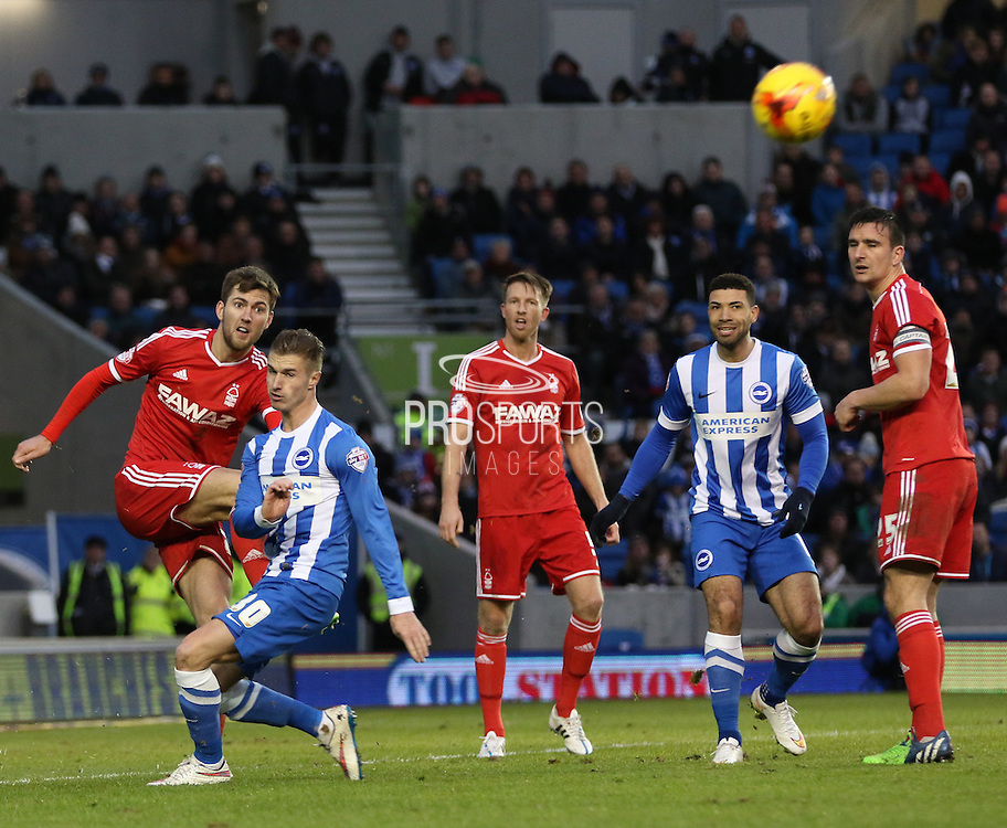 Nottingham Forest's Gary Gardner clears during the Sky Bet Championship match between Brighton and Hove Albion and Nottingham Forest at the American Express Community Stadium, Brighton and Hove, England on 7 February 2015. Photo by Phil Duncan.