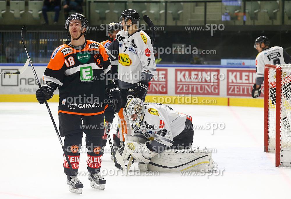 13.11.2016, Merkur Eisarena, Graz, AUT, EBEL, Moser Medical Graz 99ers vs Dornbirner Eishockey Club, 18. Runde, im Bild Ken Ograjensek (#18, Moser Medical Graz 99ers), Corin Konradsheim (#7, Dornbirner Eishockey Club) und Florian Hardy (#49, Dornbirner Eishockey Club) // during the Erste Bank Icehockey League 18th Round match between Moser Medical Graz 99ers and Dornbirner Eishockey Club at the Merkur Ice Arena, Graz, Austria on 2016/11/13, EXPA Pictures © 2016, PhotoCredit: EXPA/ Erwin Scheriau