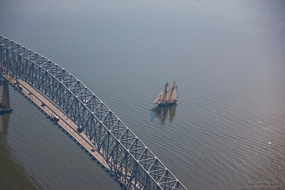 Schooner sailing at Key Bridge on Patapsco River