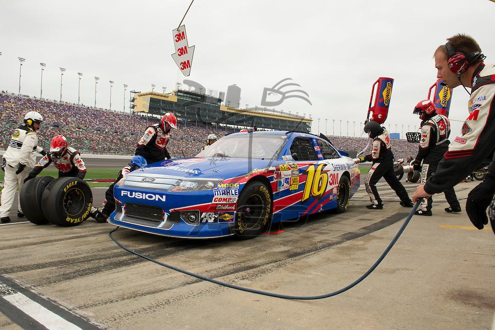 Kansas City, KS - OCT 21, 2012:  The NASCAR Sprint Cup Series teams take to the track for the Hollywood Casino 400 at Kansas Speedway in Kansas City, KS.