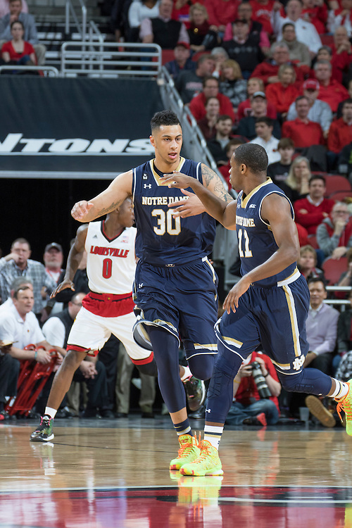 Notre Dame forward Zach Auguste. <br /> <br /> The University of Louisville hosted the Notre Dame, Wednesday, March 04, 2015 at Yum Center in Louisville. <br /> <br /> Photo by Jonathan Palmer