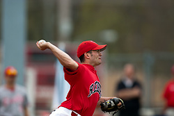 15 April 2006: Redbird Relief picther Mike Hlavacek makes a delivery. Bradley University Braves are defeated in game one of a double header against the Illinois State University Redbird at Redbird Field in Normal IL.