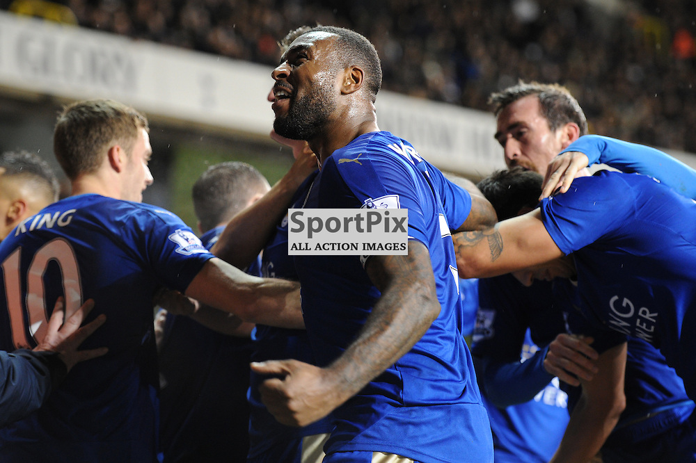 Leciesters Wes Morgan celebrates Robert Huth goal during the Tottenham v Leciester City match in the Barclays Premier League on the 13th January 2016.