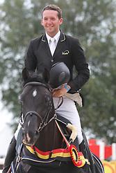 Bille Brecht (BEL) - Hunters Scendro<br /> Belgisch kampioenschap jonge springpaarden Gesves 2012<br /> © Hippo Foto - Counet Julien