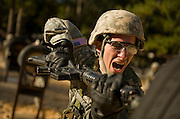 U.S. Army Private Steven Memolor attacks the dummy on the bayonet assault course at Fort Jackson, S.C., on October 23, 2008.