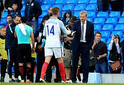 England Manager Roy Hodgson shakes hands with Jordan Henderson - Mandatory byline: Matt McNulty/JMP - 07966386802 - 22/05/2016 - FOOTBALL - Etihad Stadium -Manchester,England - England v Turkey - International Friendly