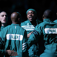 09 March 2012: Boston Celtics small forward Paul Pierce (34) and the Celtics are seen during  the players introduction prior to the Boston Celtics 104-86 victory over the Portland Trail Blazers at the TD Banknorth Garden, Boston, Massachusetts, USA.