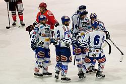 Team EC Rekord Fenster VSV celebrate goal during ice-hockey match between HK Acroni Jesenice and EC Rekord Fenster VSV in 37th Round of EBEL league, on Januar 3, 2012 at Dvorana Podmezaklja, Jesenice, Slovenia. (Photo By Matic Klansek Velej / Sportida)
