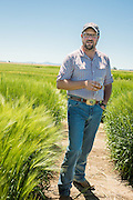 Seth Klann at his family farm, Mecca Grade Estate Malt, in Madras, Oregon.
