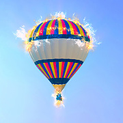 Digitally enhanced image of an inflated hot air balloon
