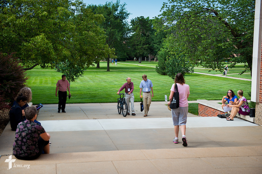 Participants at the 2014 Institute on Liturgy, Preaching and Church Music walk on campus Tuesday, July 29, 2014, at Concordia University, Nebraska, in Seward, Neb. LCMS Communications/Erik M. Lunsford