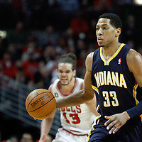 CHICAGO, IL - APR 18: Danny Granger #33 of the Indiana Pacers brings the ball up court during game 2 of the Eastern Conference First Round at the United Center on April 18, 2011 in Chicago, IL. NOTE TO USER: User expressly acknowledges and agrees that, by downloading and or using this photograph, User is consenting to the terms and conditions of the Getty Images License Agreement. Mandatory Credit: 2011 NBAE (Photo by Chris Elise/NBAE via Getty Images)