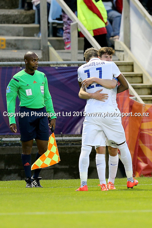 Bradford Jamieson IV of USA and Emerson Hyndman celebrate a goal in the Group A FIFA U20 World Cup Match between USA and Myanmar at Northlands Event Centre, Whangarei, Northland, New Zealand, Saturday, May 30, 2015. Copyright photo: David Rowland / www.photosport.co.nz