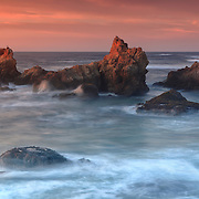 Haystacks In Crashing Surf - Sunset - Fort Bragg, CA