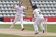 Tom Taylor bowlong to Danny Lamb before the Bob Willis Trophy match between Lancashire County Cricket Club and Leicestershire County Cricket Club at Blackfinch New Road, Worcester, United Kingdom on 4 August 2020.