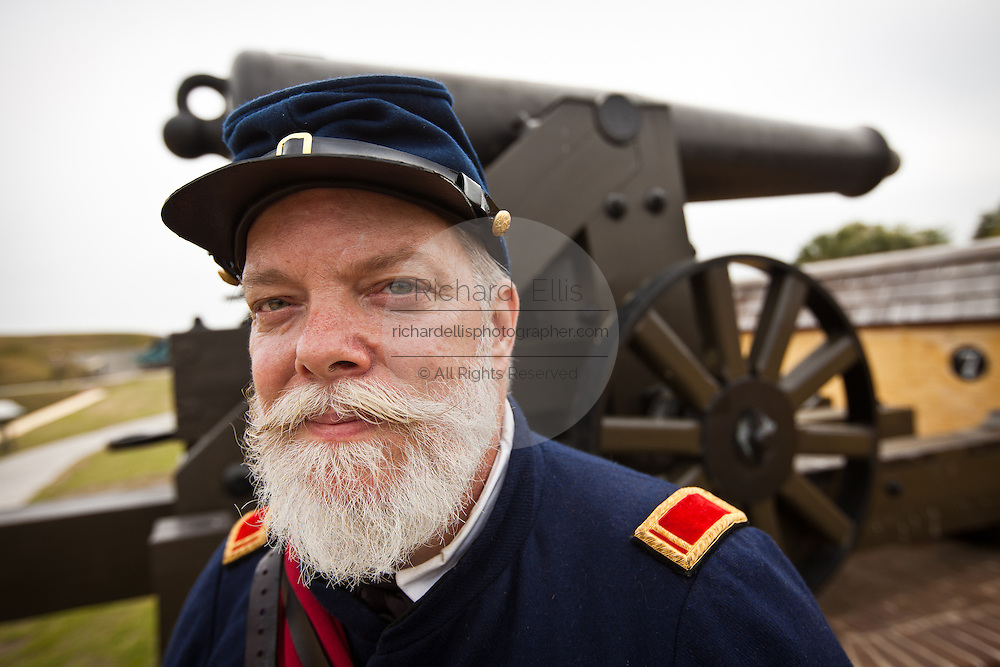 A Confederate re-enactor in Fort Moultrie Charleston, SC. The re-enactors are part of the 150th commemoration of the US Civil War.