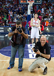 Photographer during  the eight-final basketball match between National teams of Turkey and France at 2010 FIBA World Championships on September 5, 2010 at the Sinan Erdem Dome in Istanbul, Turkey. (Photo By Vid Ponikvar / Sportida.com)