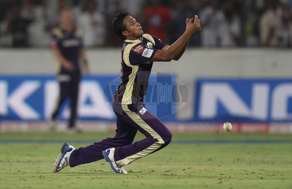 Shakib Al Hasan of the Kolkata Knight Riders drops a catch during Match 5 of the NOKIA CLT20 between The Kolkata Knight Riders and Somerset held at the Rajiv Gandhi International Stadium, Hyderabad on the 25th September 2011..Photo by Shaun Roy/BCCI/SPORTZPICS