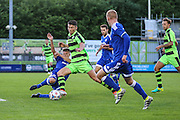 Forest Green Rovers Keiffer Moore takes a shot during the Pre-Season Friendly match between Forest Green Rovers and Cardiff City at the New Lawn, Forest Green, United Kingdom on 13 July 2016. Photo by Shane Healey.
