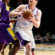Reno Bighorns Center JACK COOLEY (45) works in the paint against South Bay Lakers Center THOMAS BRYANT (31) during the Western Conference Semi-Final NBA G-League Basketball game between the Reno Bighorns and the South Bay Lakers at the Reno Events Center in Reno, Nevada.