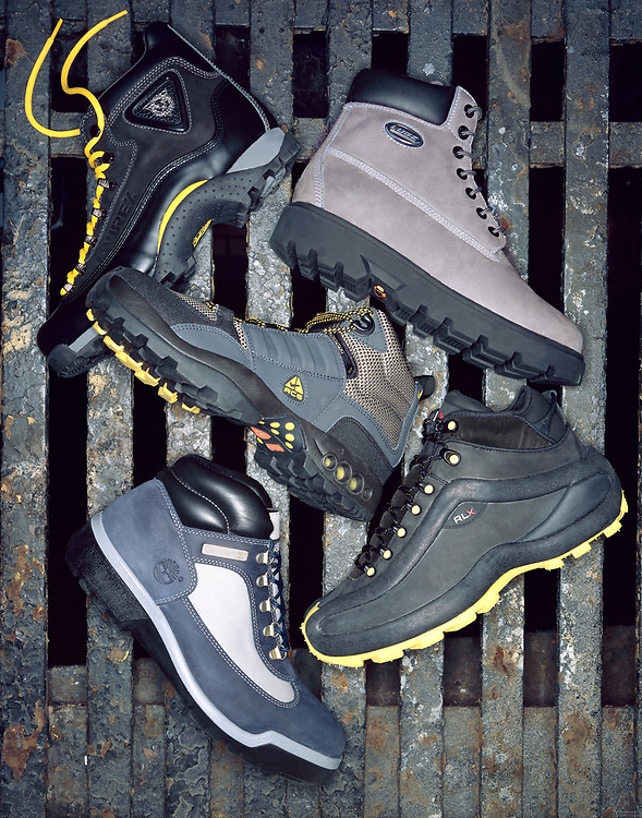 Shoe editorial hiking boots in New York and Los Angeles